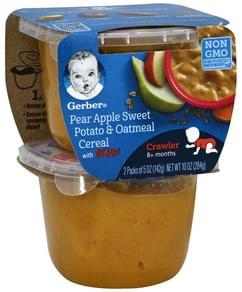 Gerber Pear Apple Sweet Potato & Oatmeal Cereal with Lil Bits, 8+ Months