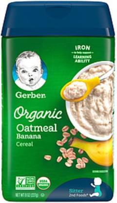 Gerber Organic Cereal Gerber 2nd Foods Organic Oatmeal Banana Cereal 2nd Foods Organic Oatmeal Banana