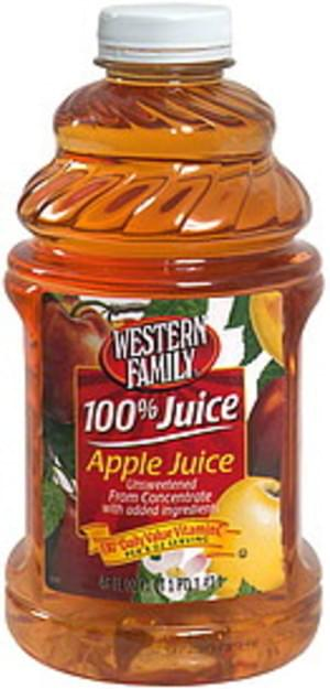 Western Family Apple Juice from Concentrate, Unsweetened  - 48 oz