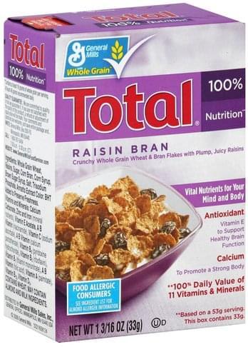 Total Raisin Bran Cereal - 1.1875 oz
