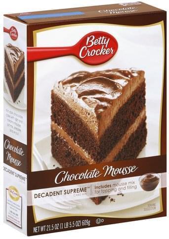 Betty Crocker Chocolate Mousse Cake Mix - 21 5 oz, Nutrition