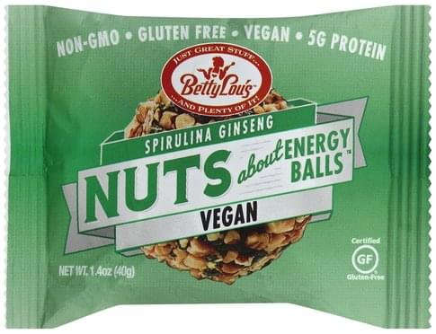 Betty Lous Vegan, Spirulina Ginseng Nuts About Energy Balls - 1.4 oz