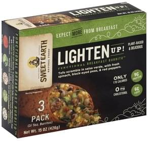 Sweet Earth Burrito Functional Breakfast, Lighten Up!, 3 Pack
