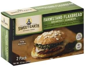 Sweet Earth Sandwich Breakfast, Tuscan Sausage, Farmstand Flaxbread, 2 Pack