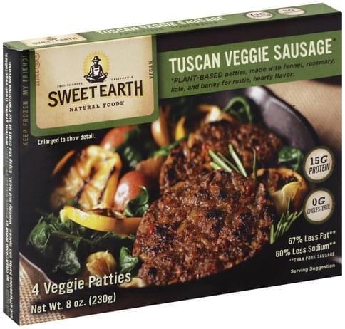 Sweet Earth Tuscan, Patties Veggie Sausage - 8 oz