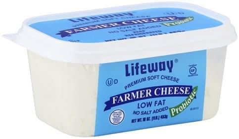 Lifeway Premium Soft Cheese, Low Fat, No Salt Added, Farmer Cheese - 16 oz