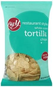 Big Y Tortilla Chips White Corn, Restaurant Style, Party Size