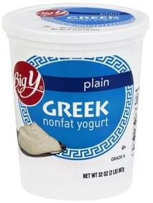 Big Y Yogurt Greek, Nonfat, Plain