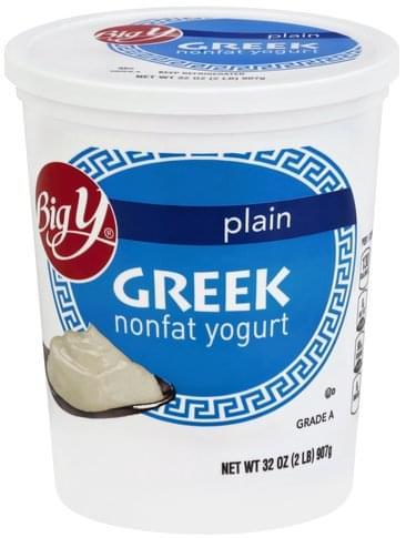 Big Y Greek, Nonfat, Plain Yogurt - 32 oz