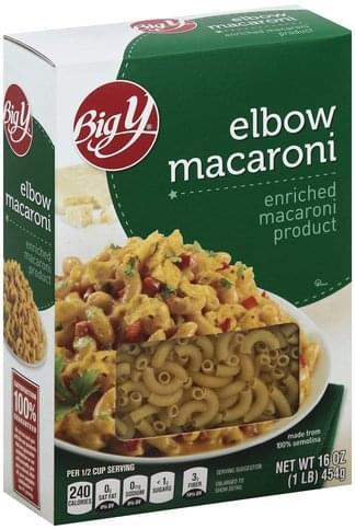 Big Y Elbow Macaroni - 16 oz, Nutrition