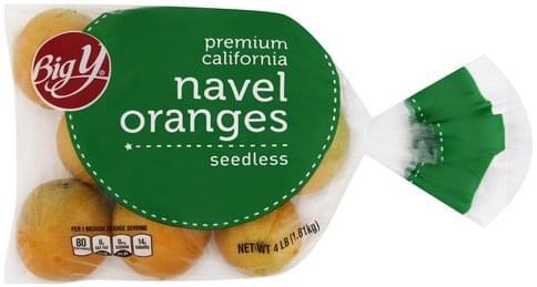 Big Y Premium California, Seedless Navel Oranges - 4 lb
