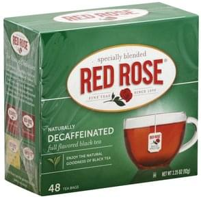Red Rose Black Tea Full Flavored, Naturally Decaffeinated, Bags