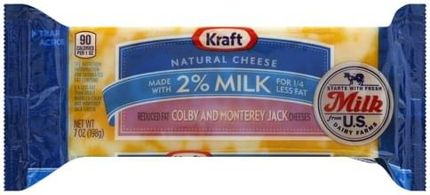 Kraft Colby and Monterey Jack, Reduced Fat Cheese - 7 oz, Nutrition