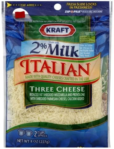 Kraft Italian, Three Cheese Cheese - 8 oz