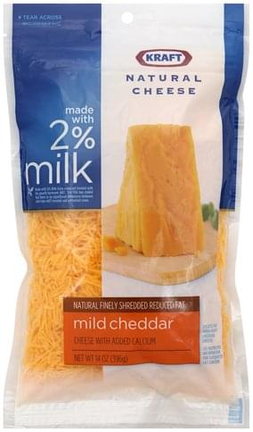 Kraft Mild Cheddar, Reduced Fat Finely Shredded Cheese - 14 oz