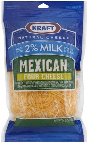 Kraft Mexican Style, Four Cheese Finely Shredded Cheese - 14 oz