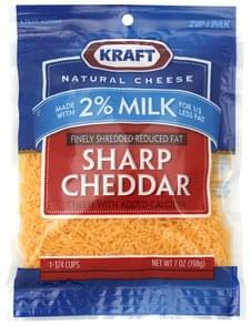 Kraft Finely Shredded Cheese Cheddar, Sharp, Reduced Fat