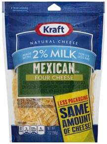 Kraft Finely Shredded Cheese Mexican Style, Four Cheese, 2% Milk