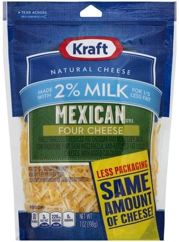 Kraft Mexican Style, Four Cheese, 2% Milk Finely Shredded Cheese - 7 oz