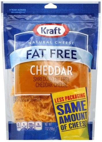 Kraft Cheddar, Fat Free Shredded Cheese - 7 oz