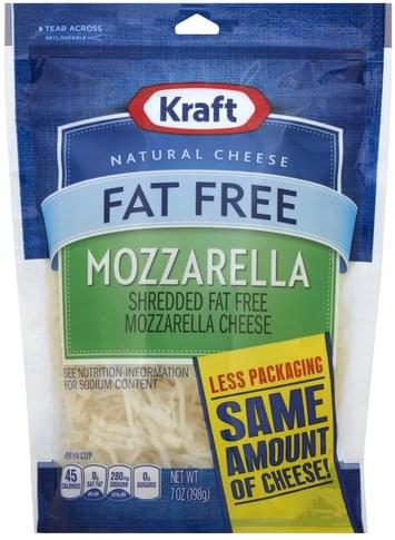 Kraft Mozzarella, Fat Free Shredded Cheese - 7 oz