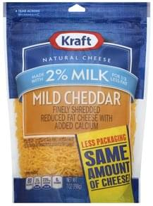Kraft Finely Shredded Cheese Mild Cheddar, Reduced Fat