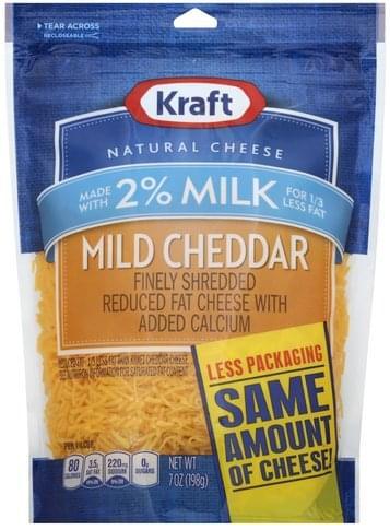 Kraft Mild Cheddar, Reduced Fat Finely Shredded Cheese - 7 oz
