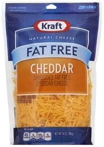 Kraft Cheese Shredded, Cheddar, Fat Free