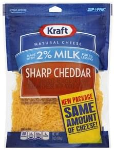 Kraft Cheese Finely Shredded, Sharp Cheddar, 2% Milk
