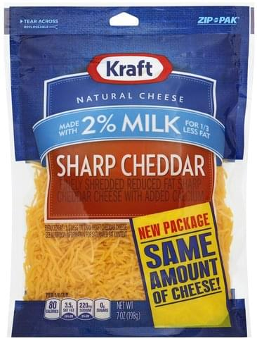 Kraft Finely Shredded, Sharp Cheddar, 2% Milk Cheese - 7 oz