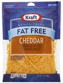 Kraft Cheese Shredded, Cheddar Cheese, Fat Free