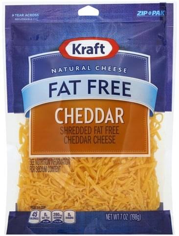Kraft Shredded, Cheddar Cheese, Fat Free Cheese - 7 oz