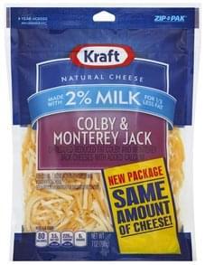Kraft Cheese Shredded, Colby & Monterey Jack, 2% Milk