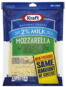 Kraft Cheese Shredded, Mozzarella, 2% Milk