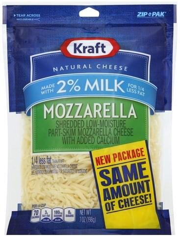 Kraft Shredded, Mozzarella, 2% Milk Cheese - 7 oz