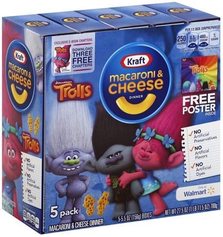 Kraft DreamWorks Trolls, 5 Pack Macaroni & Cheese Dinner - 5 ea