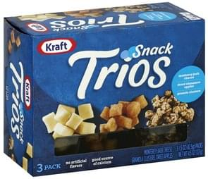 Kraft Snack Trios Monterey Jack Cheese, Dried Cinnamon Apples, Granola Clusters, 3 Pack