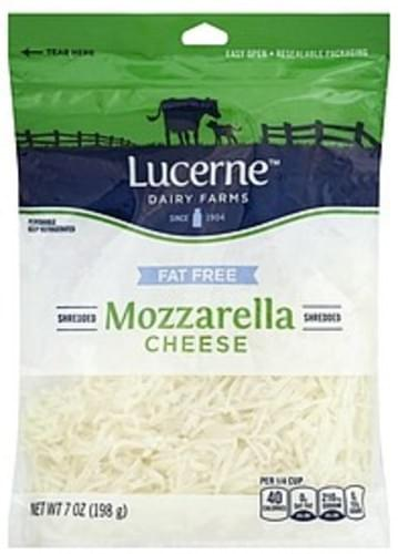 Lucerne Shredded, Mozzarella, Fat Free Cheese - 7 oz