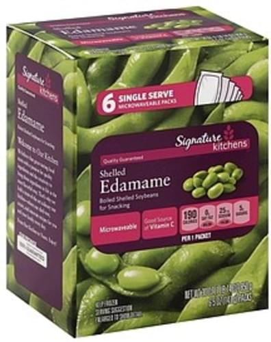 Signature Shelled, Single Serve Microwaveable Packs Edamame - 6 ea