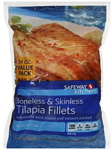 Safeway Boneless & Skinless, Value Pack Tilapia Fillets - 24 oz