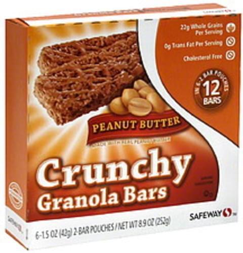 Safeway Peanut Butter Crunchy Granola Bars - 6 ea, Nutrition