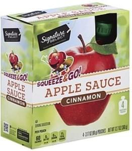 Signature Select Apple Sauce Cinnamon, Squeeze & Go!