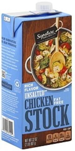 Signature Select Chicken Stock Fat Free, Unsalted