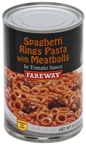 Fareway Spaghetti Rings Pasta with Meatballs in Tomato Sauce