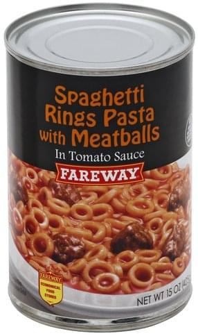 Fareway in Tomato Sauce Spaghetti Rings Pasta with Meatballs - 15 oz