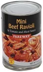 Fareway Beef Ravioli Mini, Tomato & Meat Sauce
