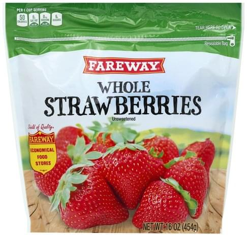 Fareway Unsweetened, Whole Strawberries - 16 oz