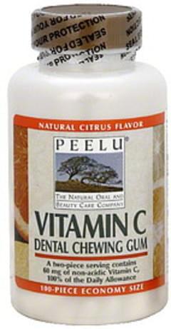 Peelu Dental Chewing Gum Vitamin C, Natural Citrus Flavor