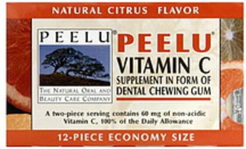 Peelu Dental Chewing Gum Vitamin C Supplement, Natural Citrus Flavor
