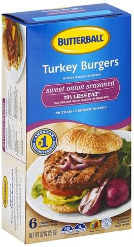 Butterball Sweet Onion Seasoned Turkey Burgers - 6 ea